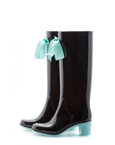 Wellies Black & Blue High