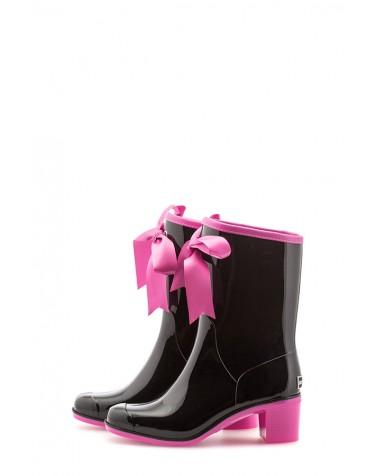 Wellies Black & Pink Short