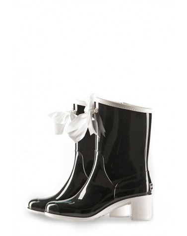 Wellies Black & White Short (Insulated)