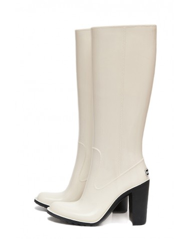 Wellies White & Zipper High