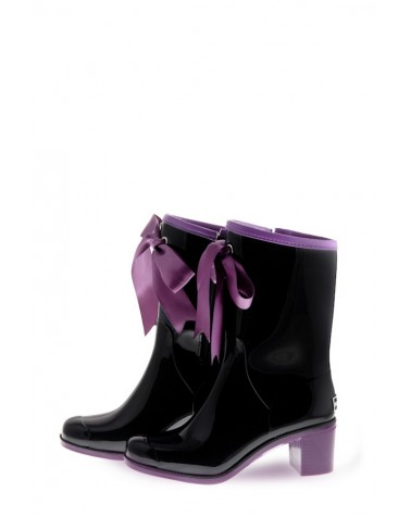 Wellies Black & Violet Short (Insulated)