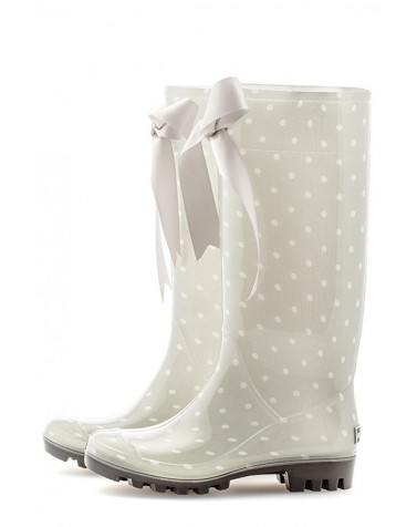 Wellies Gray & Spots