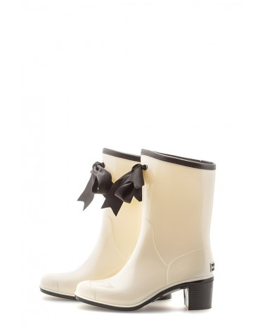 Wellies White & Black Short